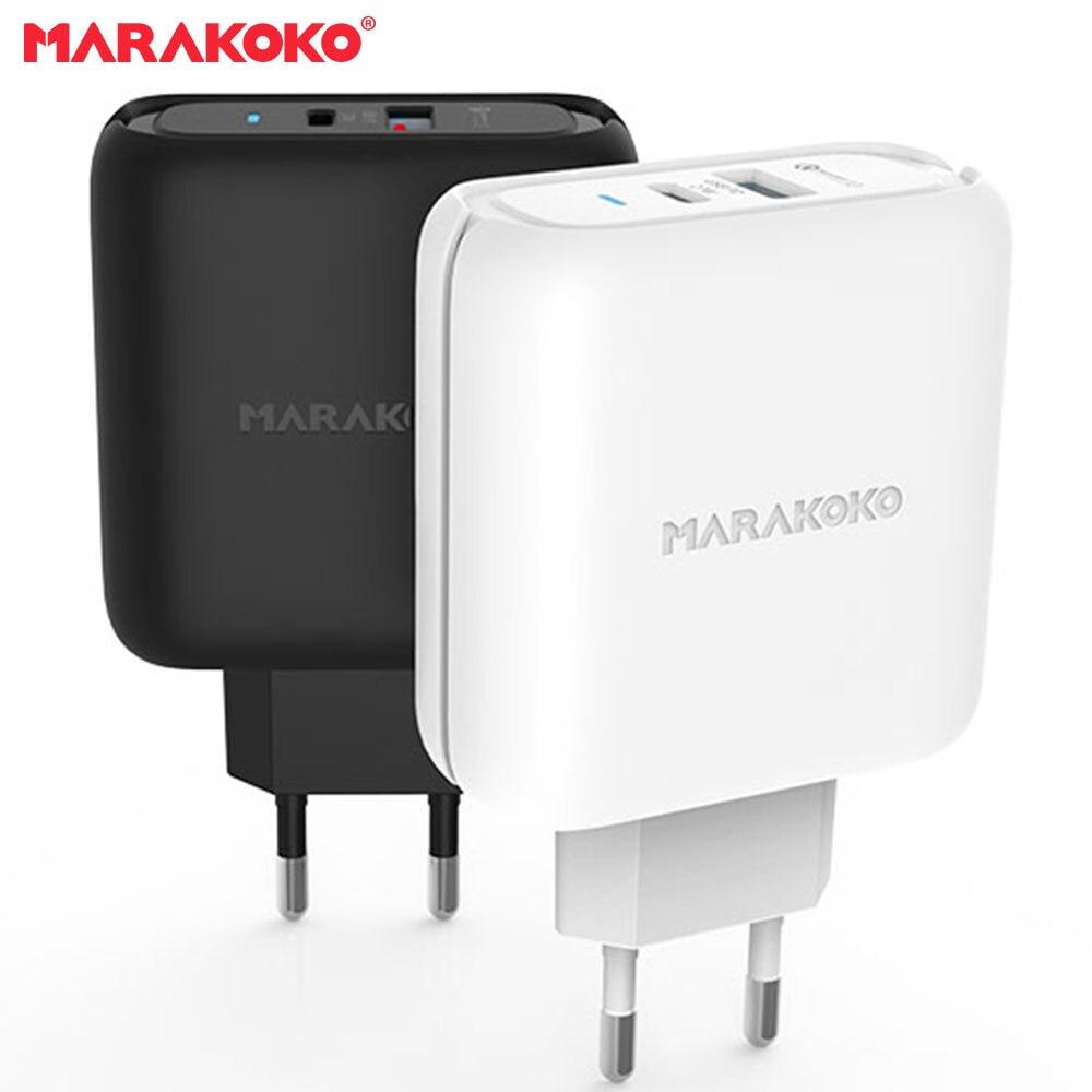 Marakoko MA27 USB-C PD3.0 Type-C and Quick Charger 3.0 USB Charger 2-Port Travel charger 42W Output EU Plug