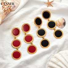 Canner 2019 Fashion Geometric Big Round Earrings For Women Statement Jewelry Red Gold Circle Chain Dangle Gift