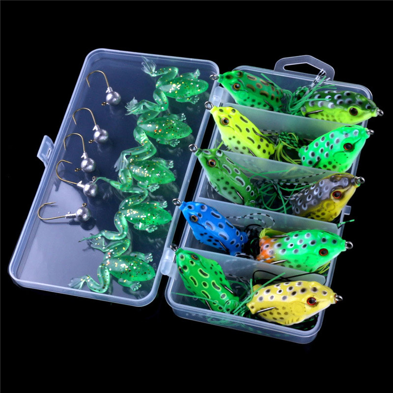20pcs frog soft fishing lure set bait lead hook with gift for Fishing gift box