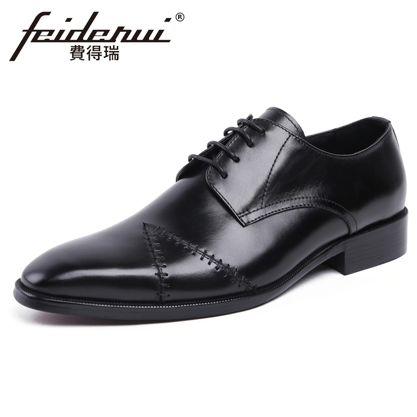 New Arrival Genuine Leather Handmade Men's Wedding Party Footwear Round Toe Derby Man Formal Dress Business Office Shoes YMX260 plus size new arrival men s formal dress office footwear genuine leather round toe lace up man derby wedding party shoes ymx410