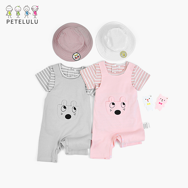 Cartoon Cotton Boys Clothes 2pcs Baby Clothing Sets T Shirt +Braces Striped Todder Baby Girls Set For Kids Suit 1-3 Years Old