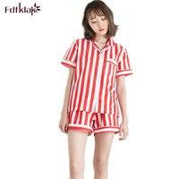 Summer New Pyjamas Women Short Sleeve Red/Blue Striped Sexy Cotton Pajamas Sleep & Lounge Ladies Pajamas Women Sleepwear Q173