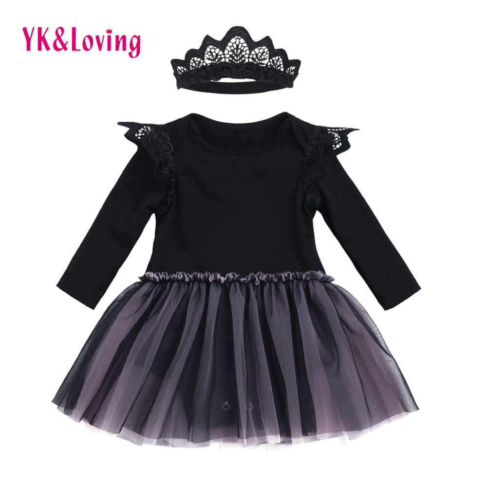 Black dress for baby girl - Black Dress Baby Girls Romper For Infants Gray Mesh Dress Long Sleeve With Embroidery Wing Design
