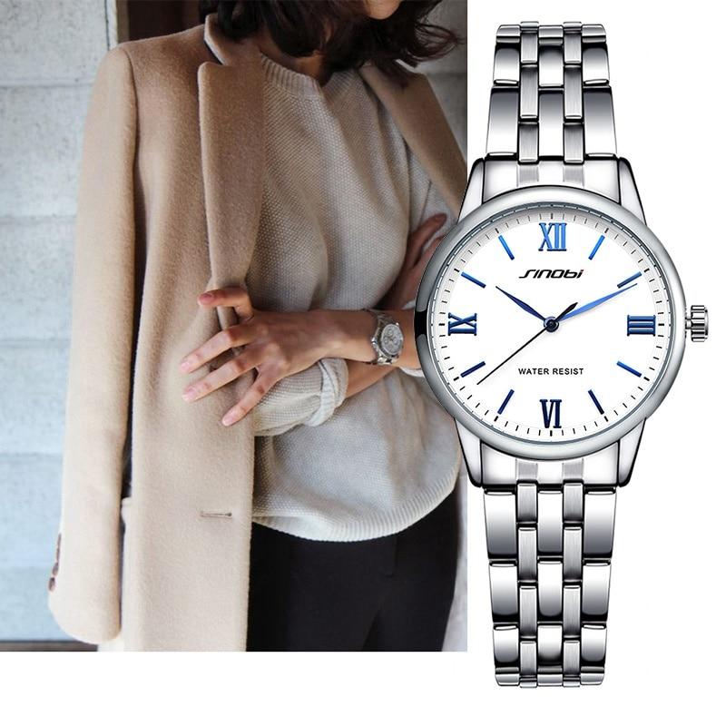 Prix pour SINOBI Nouvelle Mode Femmes Montres En Acier Inoxydable Bracelet Top Marque de Luxe Femme Quartz Horloge Dames Bracelet Montre-Bracelet
