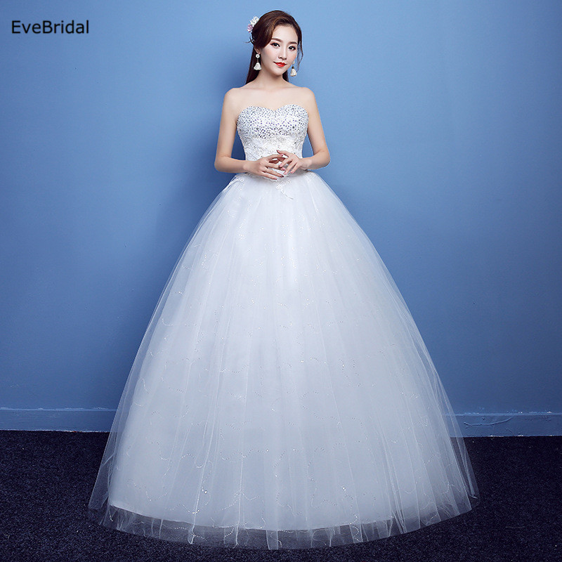 Ivory A Line Sweetheart Neck Netting Beading Sequines Sleeveless Floor length Bridal Gown Wedding Dresses Plus Size