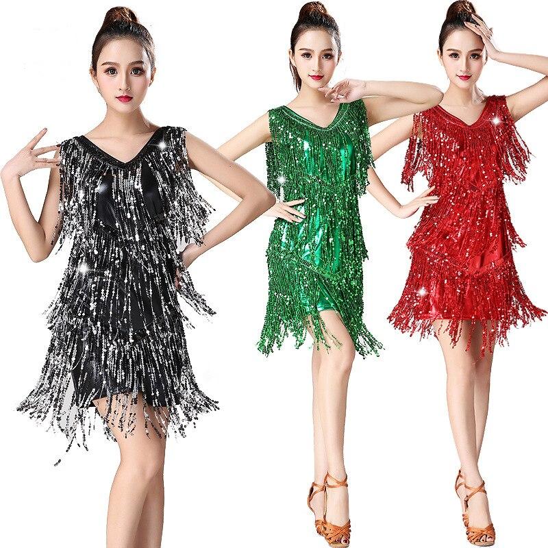 Sequins Latin Dance Costume Women Shiny Party Dress Gowns Rhythm Ballroom  Samba Rumba Tango Stage Fringe b43cf17800a2