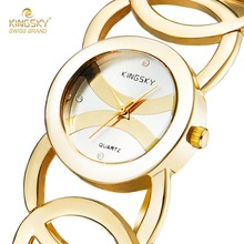 Women Watches Famous Kingsky Top Luxury  Brand Quartz-Watch Gold Fashion Design Bracelet Wrist Watch Relojes Mujer 2016 Gift