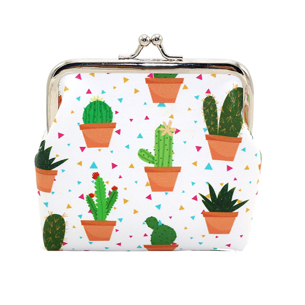 Small Purse Button-Pocket Cactus Printing Women Cute Card-Holder Ladies Credit Fashion