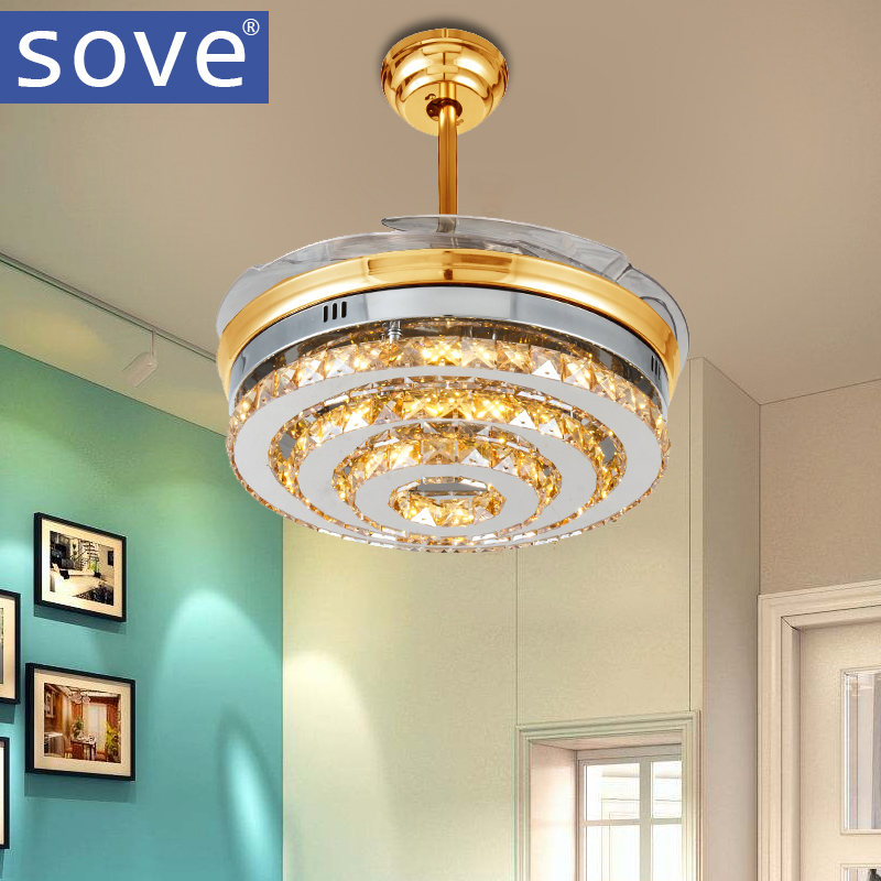 amazing price sove modern led gold crystal folding chandelie