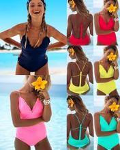 2019 New Monokini One Piece Swimsuit Sexy Trikini Women Swimwear Solid Bathing Suit Lady Beachwear Phaixoneible