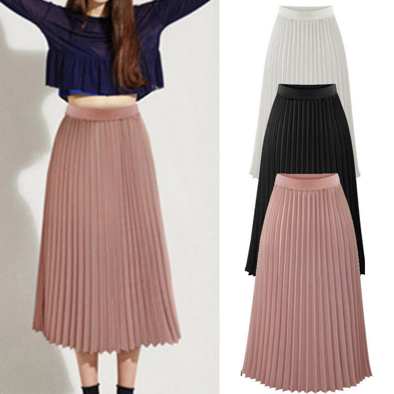 Women Long Maxi Pleated Skirt Midi Skirt High Waist Elastic Casual Party Skirt Femme Falda Corta 2020 Fashion Bohe Beach Clothes