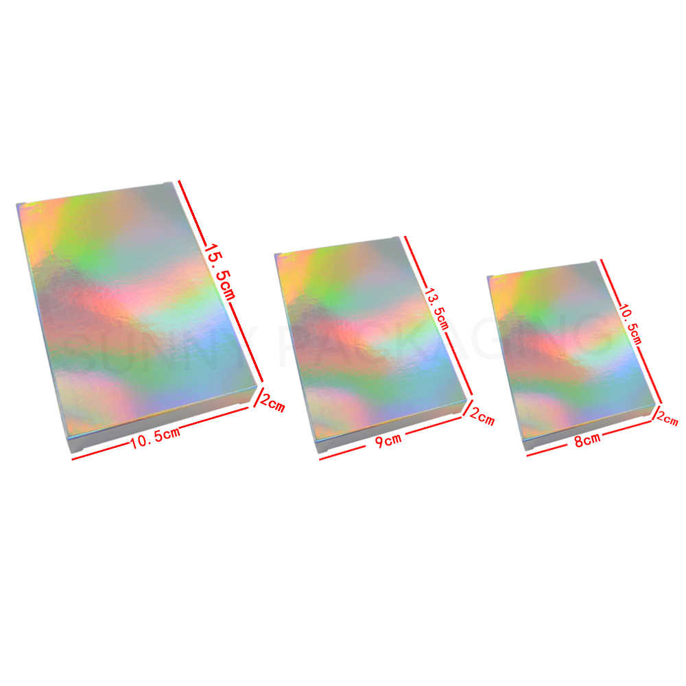 50 Pcs Holograms Laser Paper Box Cartons Gift Box Package Cosmetics Tea Package Ivory Board Boxes
