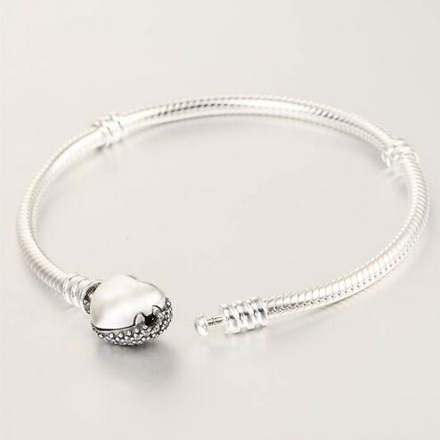 Bracelets en argent sterling 925 Bracelet serpent européen avec fermoir coeur en zircon cubique pour femmes et hommes bijoux bricolage YL018 - 3