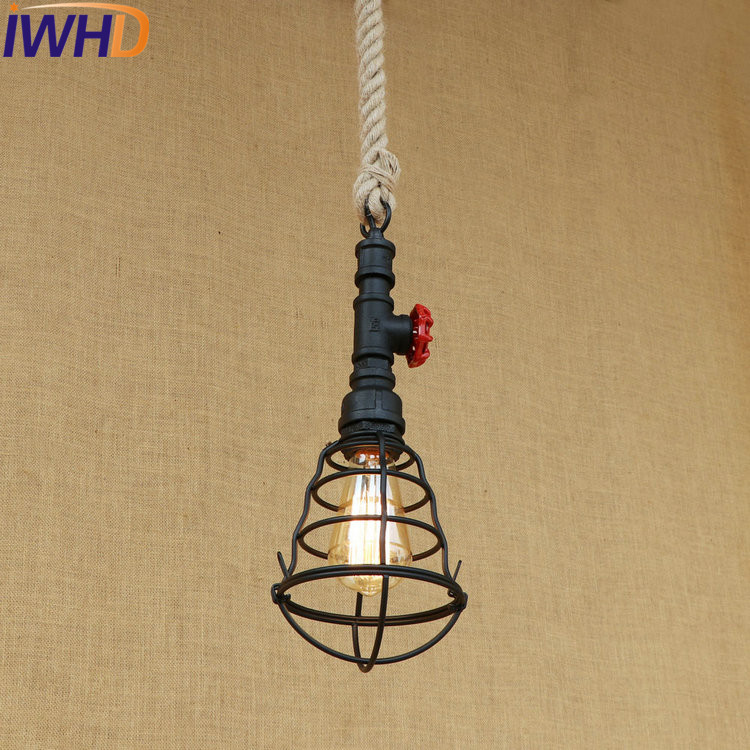 IWHD Loft Style Iron Water Pipe Pendant Light Fixtures Hemp Rope Edison Vintage Industrial Lighting Indoor Hanging Lamp iwhd american edison loft style antique pendant lamp industrial creative lid iron vintage hanging light fixtures home lighting