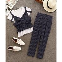 SUDB Striped Cami Top & White T Shirt & Slim Pants Set Women Navy Blue 3 Piece Set 2018 Casual Three Piece Set Office Lady Suit