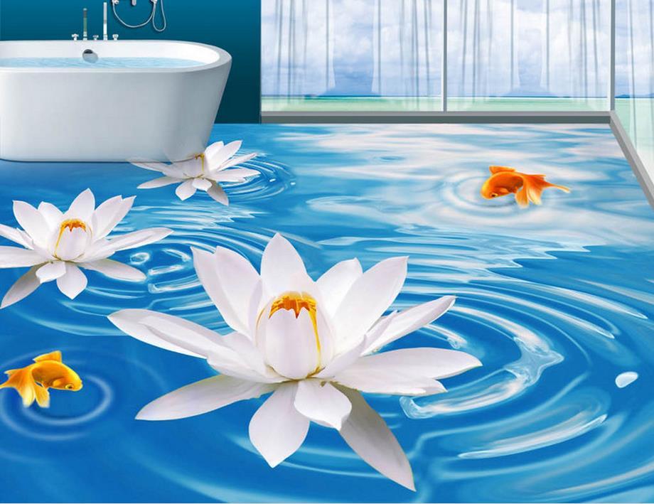Custom 3d floor Blue White Lotus wallpaper landscape for living room 3d flooring stereoscopic wallpaper 3d floor waterproof custom baby wallpaper snow white and the seven dwarfs bedroom for the children s room mural backdrop stereoscopic 3d