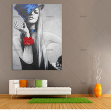 HASYOU Home Artist Sexy Model Oil Painting Hand Painted Drawing Innocent Girl Abstract Wall Art Picture For Decor Framed