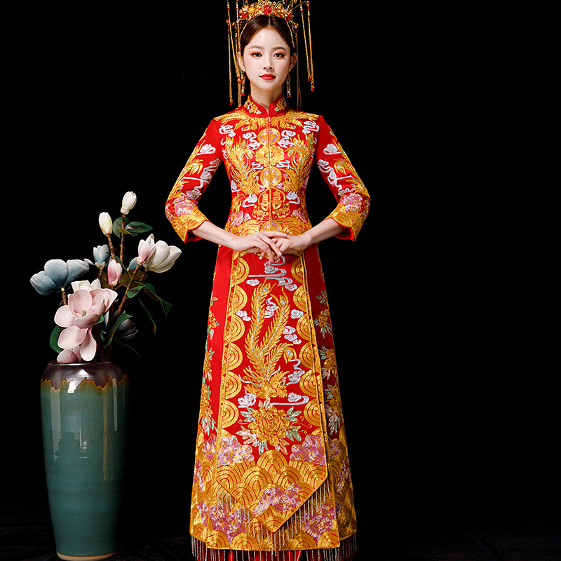 Vintage Chinese Style Formal Dress Royal Phoenix Wedding