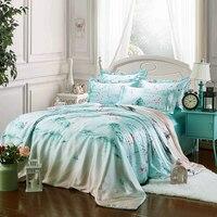 2017 Summer supplie 100% pure satin silk bedding set Bedclothes,Duvet cover Flat sheet pillowcases Wholesale Green ink painting