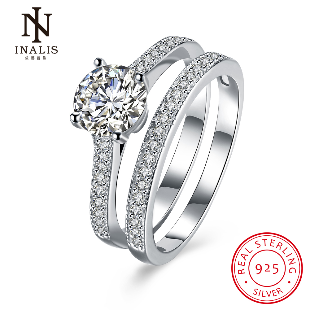 inalis 925 sterling silver double ring sets for women zircon stone wedding jewelrychina - Wedding Ring Prices