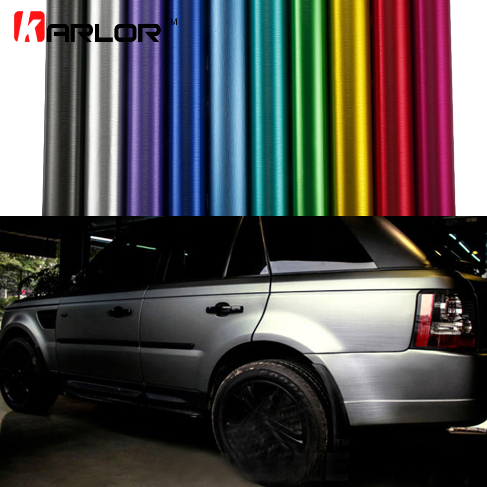 Car styling Matte Chrome Brushed Metallic Vinyl Film Car Stickers and Decals Automobiles Car Body Wrapping Foil Air Bubble Free 152cmx18m premium polymeric pvc light blue ice matte chrome vinyl film car styling wraps whole body stickers with air channel