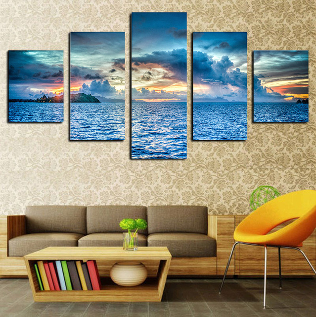2017 Fashion Painting Sunset Seascape Canvas Wall Art 5 Panel For Bedroom  Living Room Home Decor