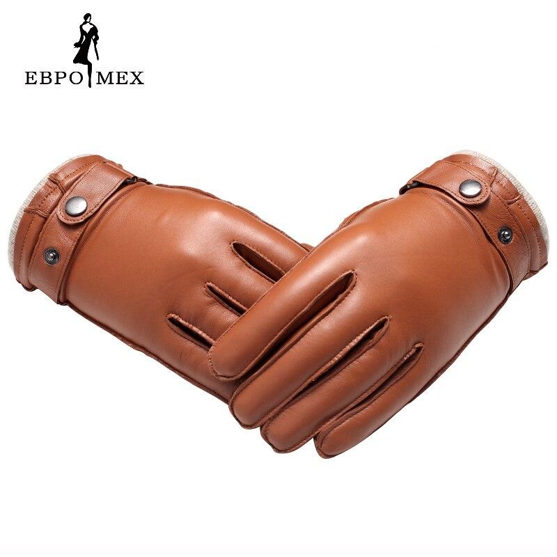 Guantes de cuero genuino de calidad superior guantes de cuero de moda para hombre guantes de conducción Vintage guantes cálidos de invierno piel de cordero marrón - 2