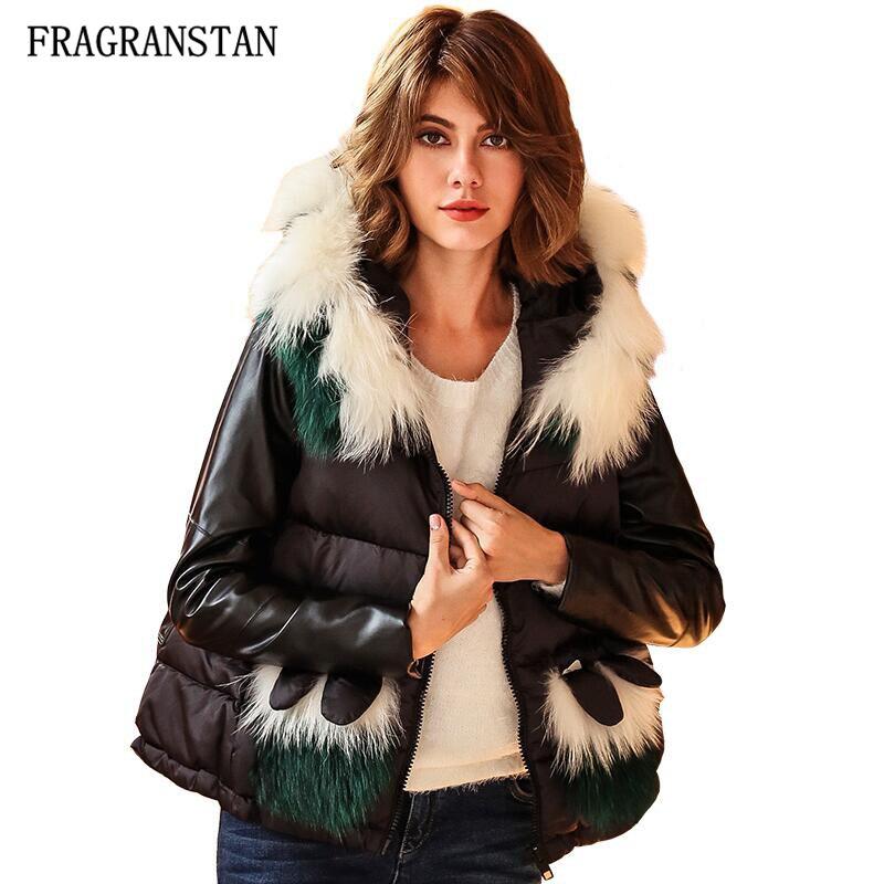 女性の冬のファッションリアル毛皮の襟フード付きダウンジャケット女性カジュアル緩いpuレザーパッチワークコート高品質パーカーq348  グループ上の レディース衣服 からの ダウンコート の中 1