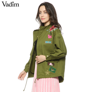 Image 2 - Vadim women floral embroidery bomber jacket patched rivet design loose flight jackets casual coat punk outwear capa CT1285