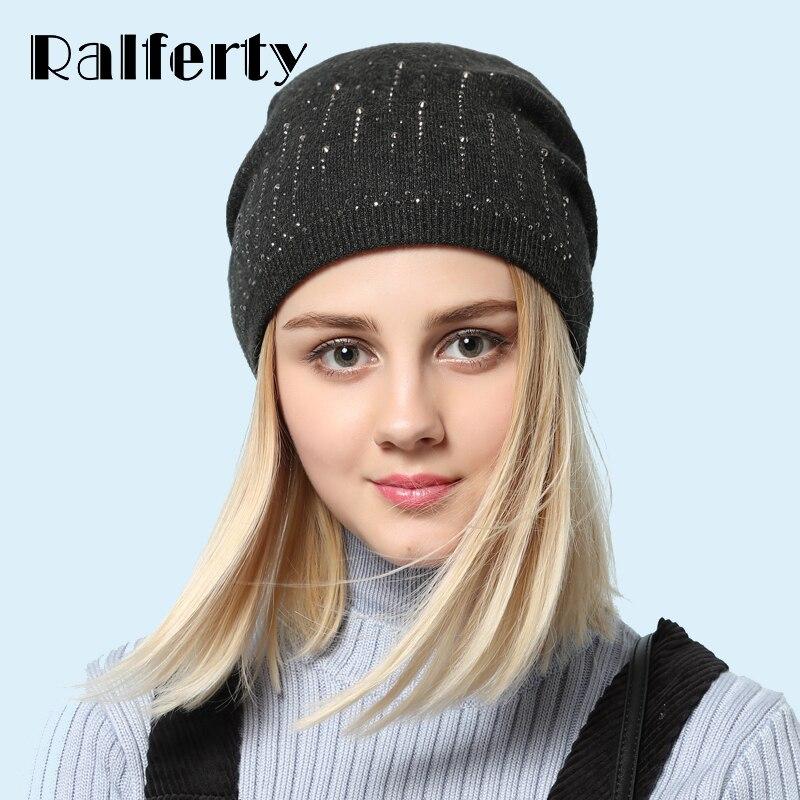 Ralferty Elegant Ladies Crystal Beanies Skullies Winter Women's Hats Knit Casual Cap Solid Colors Hedging Female Red Ski Gorros skullies