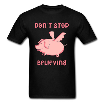Fly Pig Black Tshirts Dont Stop Believing Kawaii Graphic Funny T Shirt Mens Summer Fashion Print New Tops Tees Best Gift