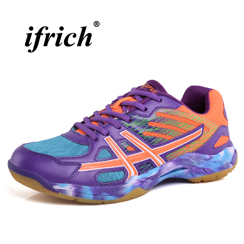 Couples Badminton Shoes Green Purple Tennis Sneakers Rubber Bottom Mans Shoes for Sports Anti-slip Comfortable Court Sneakers