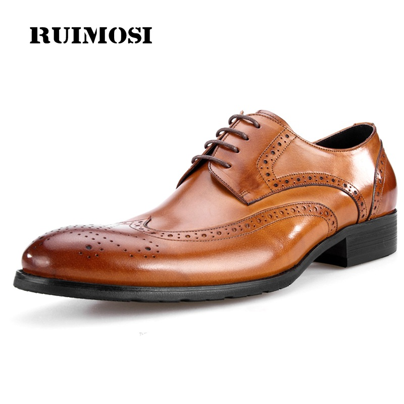 RUIMOSI Vintage British Man Brogue Shoes Top Quality Genuine Leather Formal Dress Oxfords Round Toe Men's Wing Tip Flats MG20