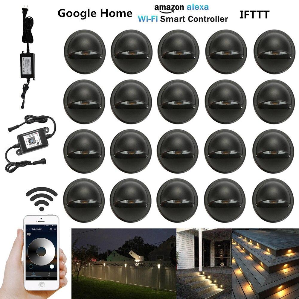 20Pcs Smart WIFI Controller Dimmer Timer Black Half Moon 35mm LED Deck Step Stair Fence Lights Low Voltage For Alexa Google Home