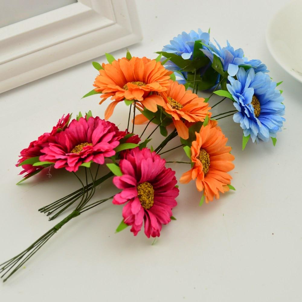 6pcs Handmade Gerbera Fashion Artificial Flowers For Indoor Decoration 5