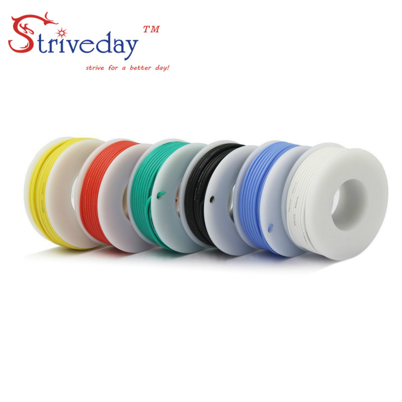 30AWG 60m box Flexible Silicone Rubber Cable Wire stranded wires Tinned Copper line Kit mix 6 Colors Electrical Wire DIY in Wires Cables from Lights Lighting