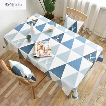 Mantel azul De Triangels para Mesa De comedor cubierta Impermeable De Tafel, decoración para el hogar, Mantel Mesa, envío gratis