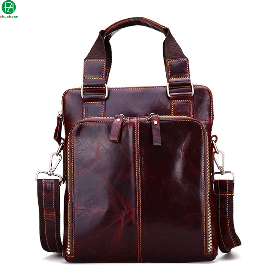ФОТО high quality genuine leather man handbags really cowhide briefcase business men crossbody Laptop bags men messenger shoulder bag