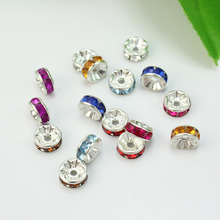 Mixed Colors 50 Pcs 8mm Crystal Rhinestone Charms Spacer Loose Bead DIY Findings