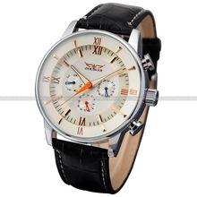 JARAGAR Relojes De Lujo Hombres hombres Day/Week/24 Horas Reloj de Cuero Mecánico Automático de Plata Caso Negro + Caja de regalo Envío Gratis