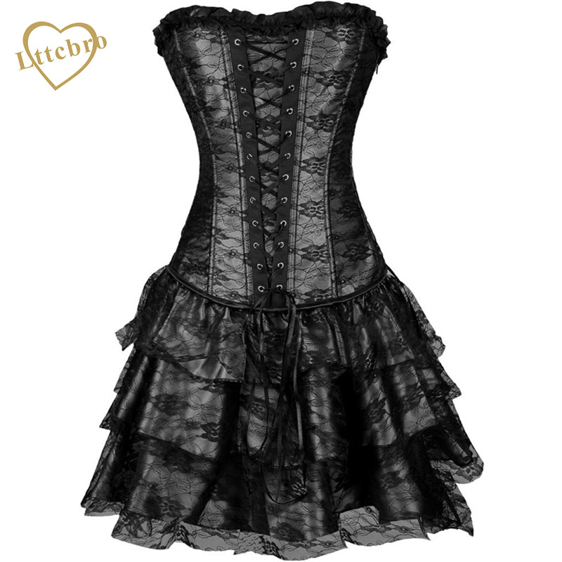 Hot Sale Sweetheart Corset Gothic Purple Wedding Dress: Lace Corset Dress Punk Sexy Women Corset And Bustier