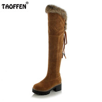 TAOFFEN Size 34 43 Winter Shoes Women Thick High Heel Over Knee Boots Women Back Strap