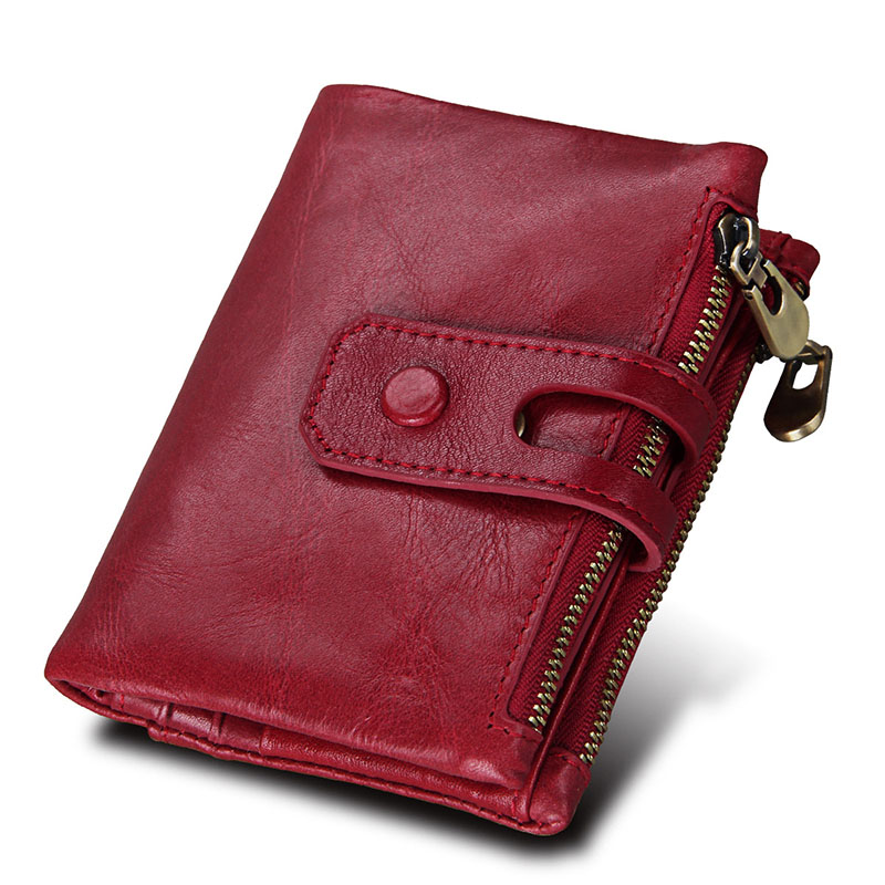 2019 Fashion Wallet Women Genuine Leather Wallets Female Hasp Double Zipper Luxury Coin Purse ID Card Holder Unisex Slim Wallets