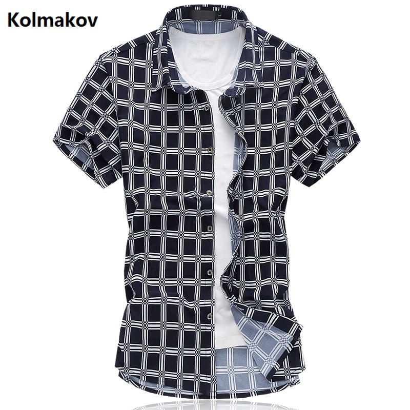 2017 summer British style shirt mens casual fashion short sleeves grid 100% cotton shirts men high quality shirts size M-6XL ...
