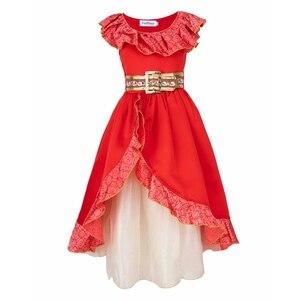 Image 3 - Robe daventure Elena pour filles, Costume Cosplay, sans manches, robe de luxe rouge pour enfants, Halloween fantaisie