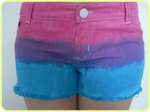 Women's All-matched casual denim shorts  low waist tassel tie-dyeing denim jeans