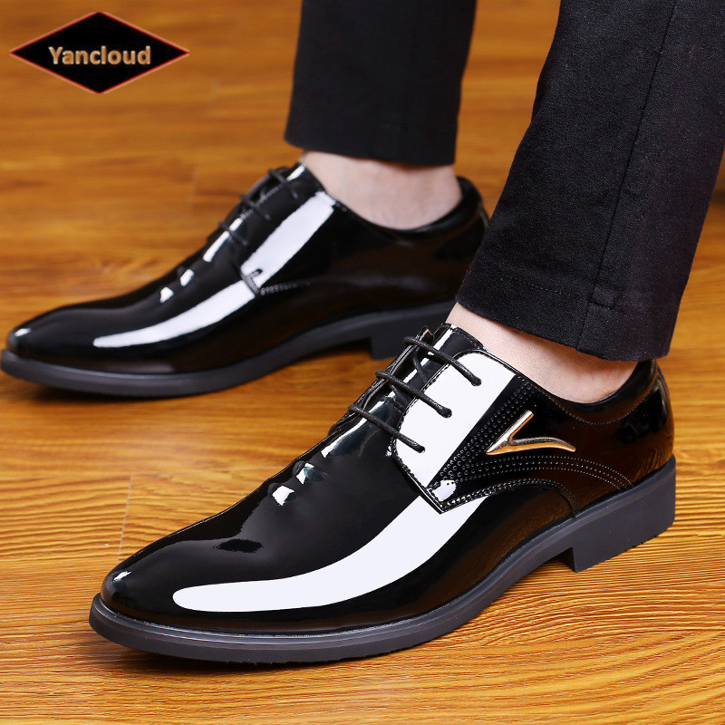 2019 Spring Autumn Fashion Mens Business Dress Shoes Lace up Patent Leather Shoes British Gentleman Wedding shoes Man2019 Spring Autumn Fashion Mens Business Dress Shoes Lace up Patent Leather Shoes British Gentleman Wedding shoes Man