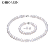 Zhboruini Ювелирные украшения с жемчужинами 100% натуральный пресноводный 925 стерлингов Серебряные ювелирные изделия с жемчугом Цепочки и ожерелья Серьги браслет для Для женщин подарок