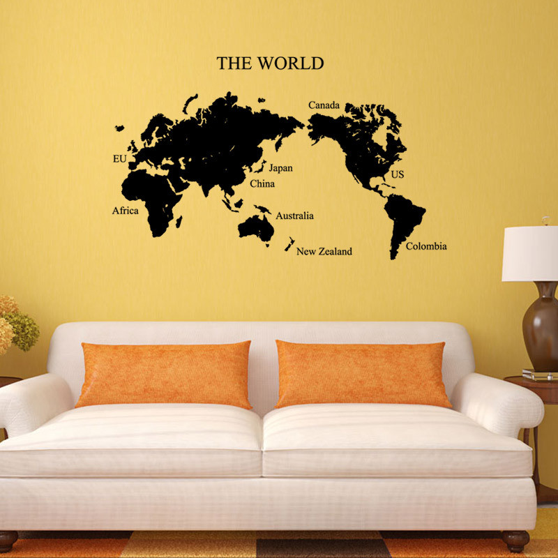 large Size DIY World Map Wall Stickers Vintage Retro Home Decoration ...