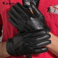 Gours 2017新しい冬のメンズ本革手袋黒ファッションブランド運転暖かい手袋ゴートスキンミトンguantes luvas gsm008